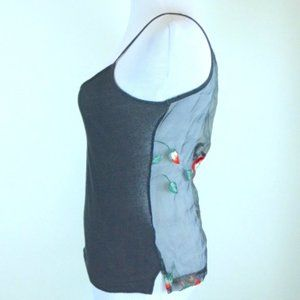 CUSTO BARCELONA CAMISOLE embroidered sheer TOP S